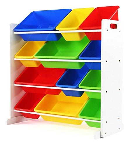 Tot Tutors Kids Toy Storage Organizer with 12 Plastic Bins WhitePrimary Summit Collection
