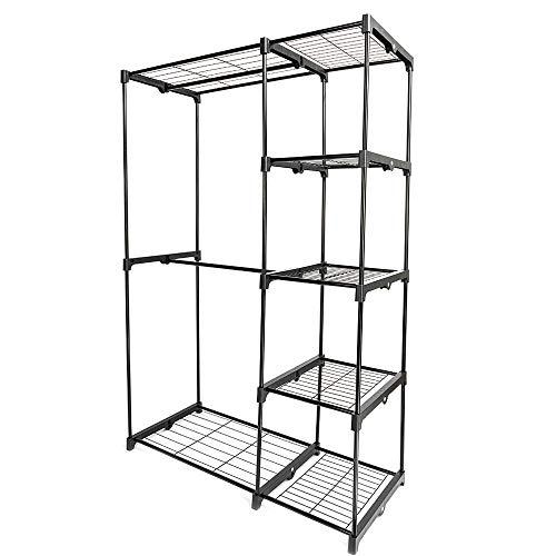 GoodGoods LLC Portable Closet Organizer Storage Clothes Hanger Garment Shelf Rail Rack Black