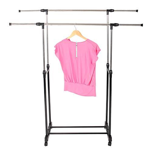 YYAO Adjustable Clothes Garment Rack Stretching Double Rod Garment Shelf Rolling Clothing Hanger Rack Organizer wLockable Wheels Black Silver