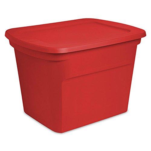 STERILITE 18 Gallon Holiday Christmas Red Storage Tote Set of 8