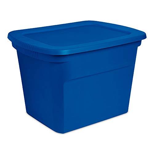 Sterilite 18 Gallon Plastic Stackable Storage Tote Container Box Blue 24 Pack