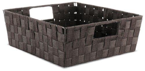 Whitmor Espresso Woven Strap Shelf Storage Tote Basket