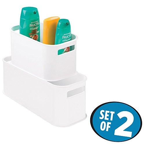 mDesign Stackable Storage Bins for Bathroom Storage - Set of 2 White