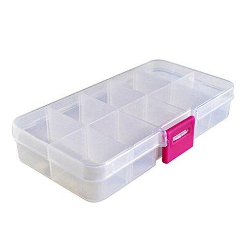 FinalZ 15 Grid Plastic Adjustable Jewelry Box Jewelry Storage Organizer Box with Removable Dividers White 2