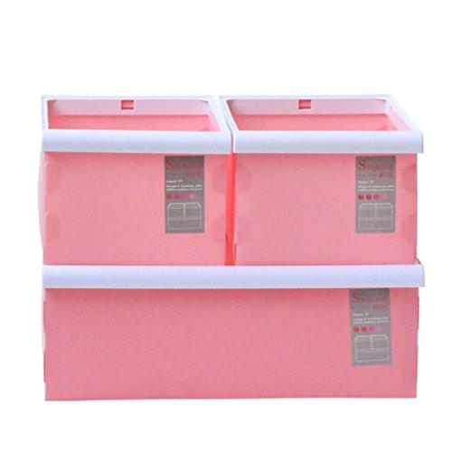 Multi-Function Foldable Storage Plastic Boxes Set of 3 Storage Basket Bin for FileClothesToysCDBook Pink