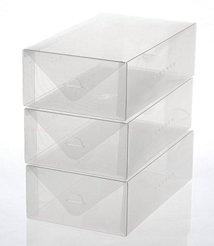 Ybmhome Plastic Shoe Box Shoe Storage Foldable Clear Container for Closet Shelf Organizer 2187 Womens Shoe Box Set of 3