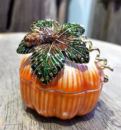 Pumpkin Trinket Ring Boxes Wedding Jewelry Gift Crafts Pumpkin Bejeweled Rings Earrings Small Storage Box