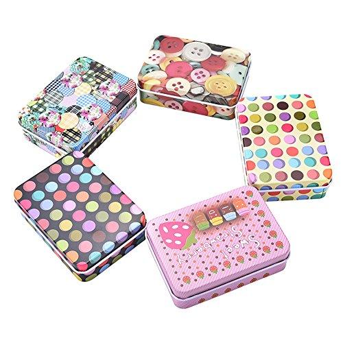 RoseSummer 1Pcs Mini Tin Metal Container Small Rectangle Lovely Storage Box Case Pattern Pop Random