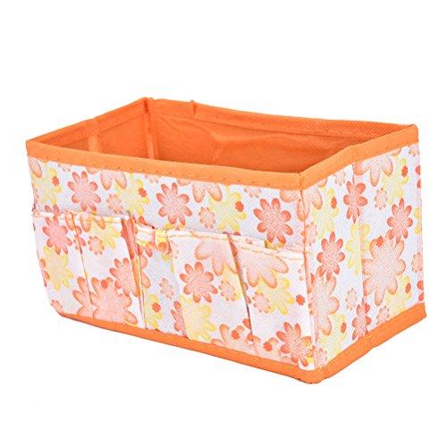Supershopping Multifunction Folding Makeup Cosmetic Sundries Small Storage Box Container Case BoxOrange