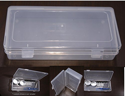 VAS Clear 9 Polypropylene Small Plastic Storage Box Hinged Lid Snap Closure -For Pencils Pens Scissors Office Supplies Small Item Organizer Tool Box Drill Bits and more Size 9x475x15