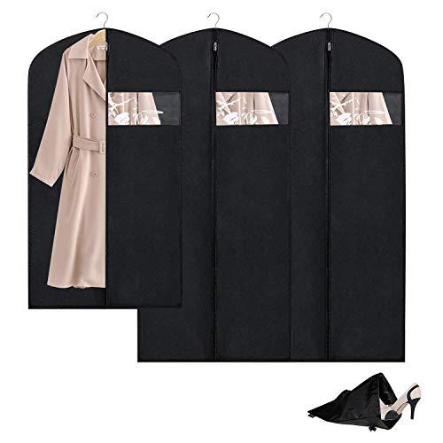 Breathable Garment Bag Clothes Storage Bag Anti-Moth ProtectorDustproof Suit Bag Clear Window Zipper Folding Suits Tuxedos Dresses Coats MoreSet of 3