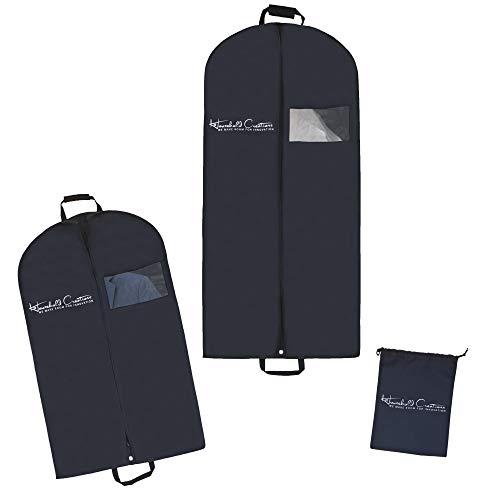 Premium Breathable Garment Bags for Travel - Set of 2 Garment Bags with Clear Viewing Window  Includes 40 Garment Bags for Suits 54 Garment Bags for Long Dresses Plus 1 Shoe Bag 3 PCS SET