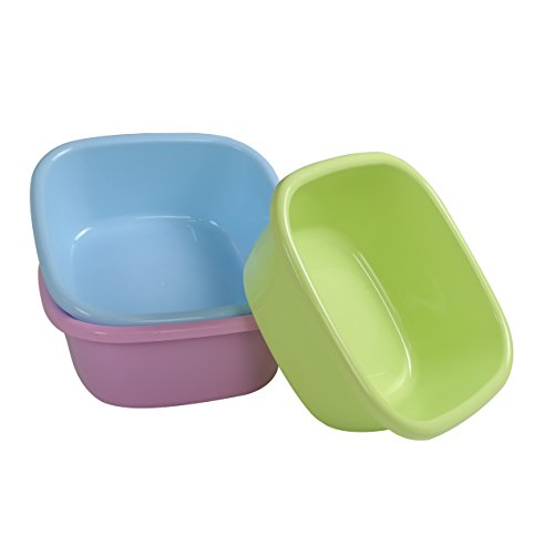 Cand Plastic Square Wash Basin 12 Quart Dish Tubs 3-Pack F