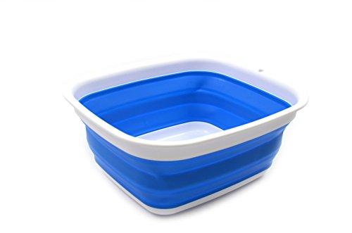 SAMMART 77L 2 Gallon Collapsible Tub - Foldable Dish Tub - Portable Washing Basin - Space Saving Plastic Washtub Blue S