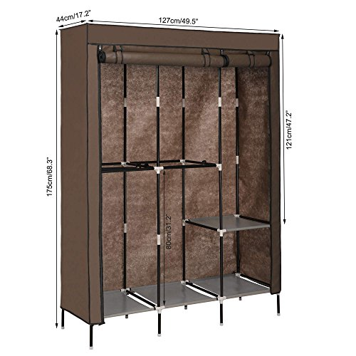 Bedroom Portable Closet with Cover Shelves and Hanging Rods Clothing Storage Unit Wardrobe