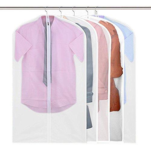 Garment Bags Pretty Handy Set of 5 Breathable Suit Covers Storage Bag with Full Zipper Closet Garment Cover Semi Transparent Travel Cloth Bag for Suit Dress Clothes Pants 47