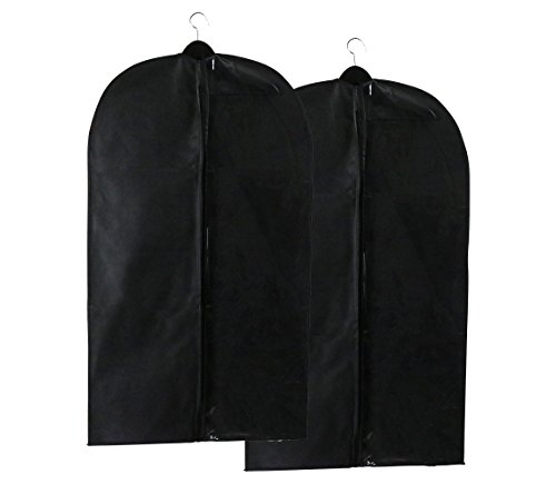 Caskyan 42 Garment Bags Breathable Black Non-Woven Fabric  Clear PVC for Dresses Coats Suits Storage or Travel- 2 Pcs