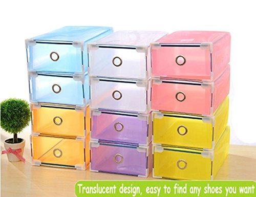 Foldable Plastic Shoe Boxes Organiser Drawer Stackable Storage Box Transparent 5 Pack