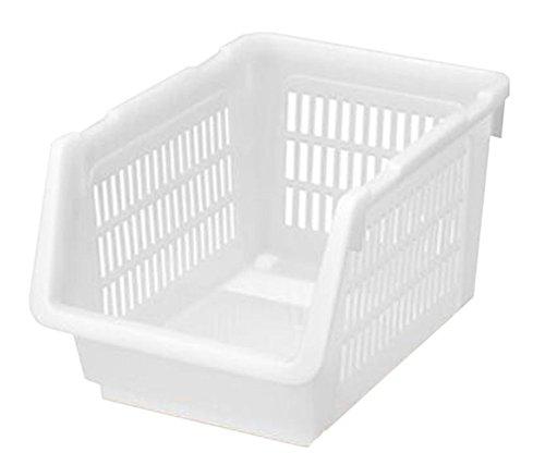 Set of 2 346x24x20cm White Stackable Storage Box Bin Storage Basket Organizer