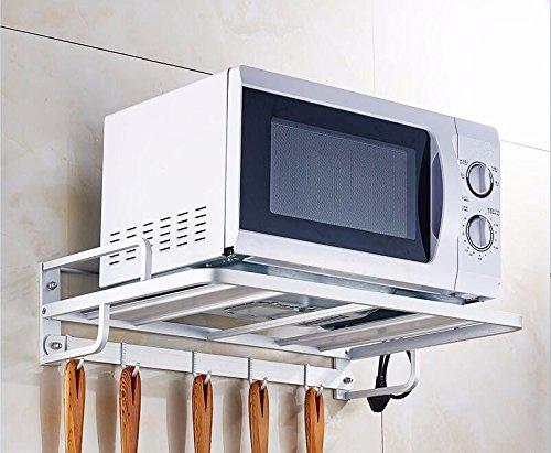 Kitchen Shelf lzzfw Space Aluminum Microwave Rack Wall Hanging Kitchen Shelf 2-storey oven bracket storage rack