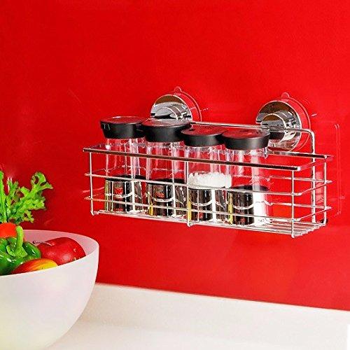 Kitchen shelf lzzfw Sucker stainless steel dressing rack seasoning bottle rack storage rack kitchen shelves wall hanging