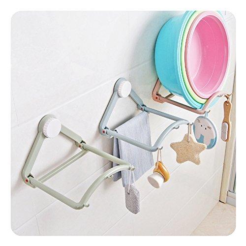 HaloVa Washbasin Storage Rack Automatic Springback Washbasin Hanging Holder Strong Suction Cup Bathroom Basin Towel Shelf Hanger Hooks for Kitchen Toilet Blue