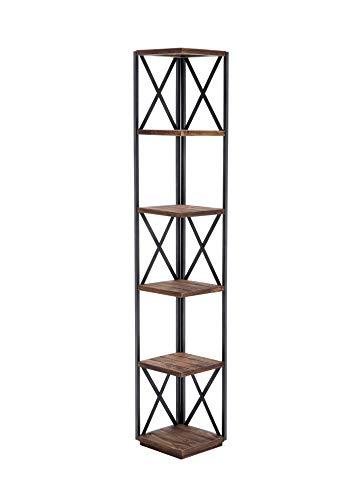 Benjara 66 Inch Metal Corner Shelf with 5 Wood Display StorageBrown and Black