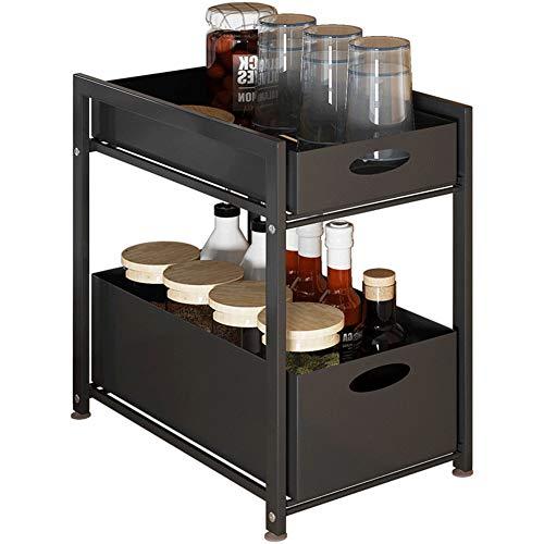 Spice Rack 2 Tier Seasoning Storage Rack Metal Corner Shelf Kitchen Organizer Bottle Shelves Corner Holder for Kitchen BathroomBlack