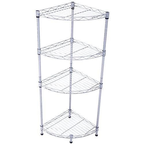 zipperl Metal Corner Shelf 4 Tier Storage Wire Shelving Unit Heavy Duty Kitchen Bathroom Corner Rack Silver
