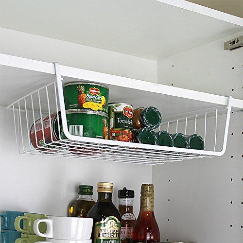 White Under Shelf Table Metal Hanging Drawer Kitchen Storage Basket Rack Holders