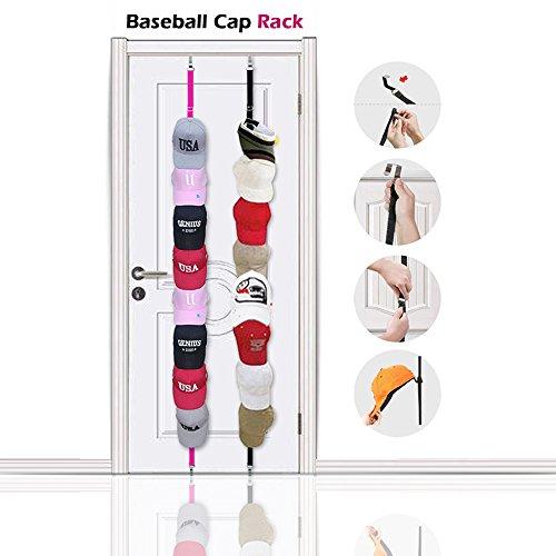 Baseball Cap Rack Storage - Sports Rack With Adjustable Hooks  A pack of Pink  Black