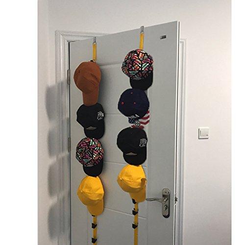 Baseball cap wall rack organizer-Cap rack baseball hat organizer with clip mount holder for door closet hanger yellow 2pcs