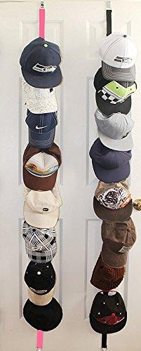 Cap Rack Storage,Bag Rack Storage - Sports Rack With Adjustable Hooks,Gorgeous Stylish 2 x 8 Hat Racks ,16 Baseball Cap Hat Holder Rack Organizer Storage Door Closet Hanger NEW1Pink  1Black