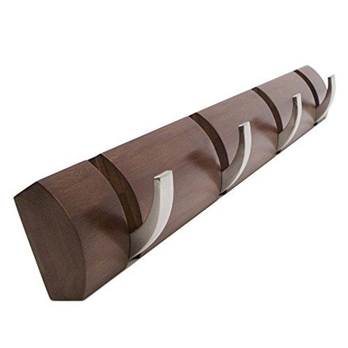 Bamboo Flip Hook Multiple Wall Mounted Rack Wall Coat Hat Rack Towel Hanger Holder 4 Hook Brown Color