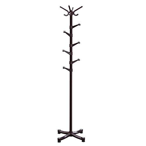 SONGMICS Coat Rack Purse Rack Hall Tree with 14 Rotating Plastic Hooks Espresso URCR19Z