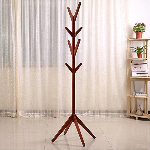 Wood Coat Rack Hall TreeTeak-Colors Entryway Standing Hat Jacket Coat Hanger Rackfor Bedroom Living Room Teak Color