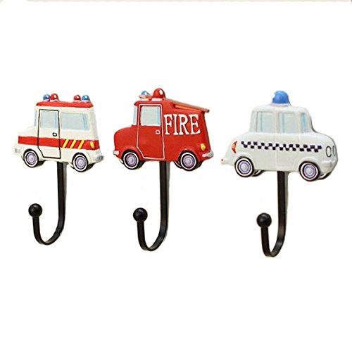 KiaoTime 3pcs Creative Childrens Kids Room Toy Car Design Coat Hooks Coat Hanger Wall Hooks Coat Rack Hanger for Boys Room or Nursery