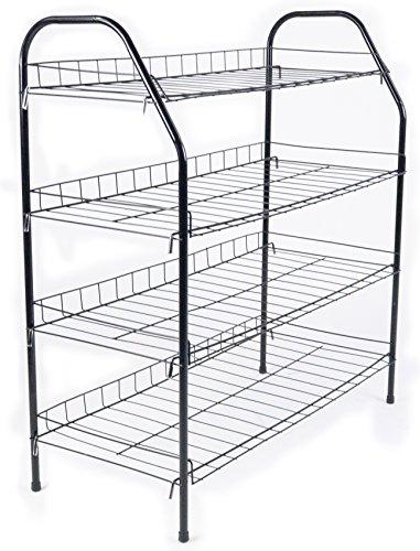 ATHome Entryway 4 Tier Shoe Shelf Storage Organizer - Super Space Saving Stackable Metal Shoe Rack Tower For Closet Cabinet Entryway Black