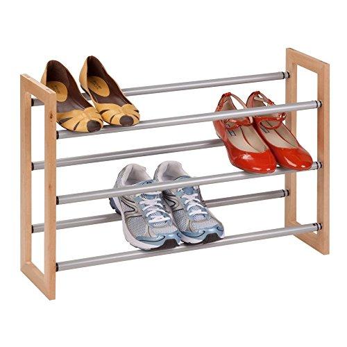 Honey Can Do Sho-01372 Wood Metal 3 Tier Adjustable Metal Shoe Rack