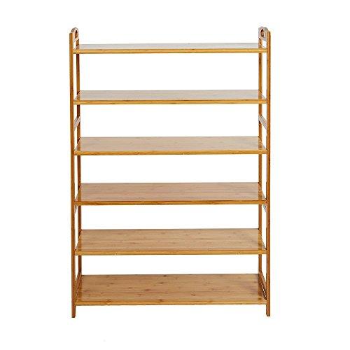 Livebest 6-Tier Entryway Shoe Rack Wooden Shoe Shelf Storage Organizer Cabinet