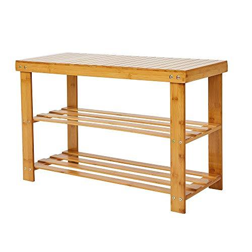 Livebest Wooden Shoe Rack Bench 2 Tier Boot Organizing Rack Entryway Storage Shelf Hallway Bamboo Furniture for HomeOfficeSchool