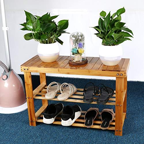 Voberry- ❤️USA Fast Shippment❤️ Bamboo Wooden Shoe Rack Organizer Multifunctional 5 Layer Stackable Shoe Shelf Storage Plant Rack Cabinet Ideal for Hallway Bathroom Closet Orange