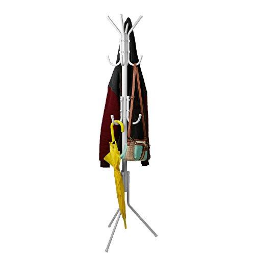 Mind Reader Standing Metal Coat Rack Hat Hanger 11 Hook for Jacket Purse Scarf Rack Umbrella Tree Stand White
