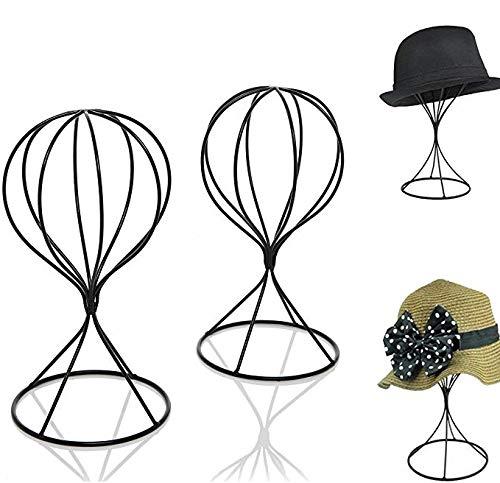 Mydio 2 Pieces Modern Metal Hat Stands Durable Stable Metal Hat Cap Rack Wigs Holder Metal Black