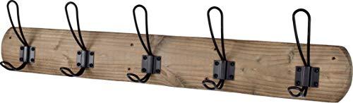 Acacia Grove Rustic Wall Mounted Coat Rack 28 Length 5 Black Hooks