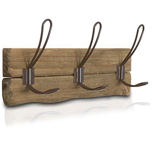 LULIND - Rustic Wall Mounted Coat Rack with 3 Brown Hooks Real Cedar Wood