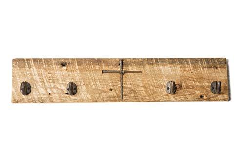 Rustic Coat Rack wCross Antique Nails