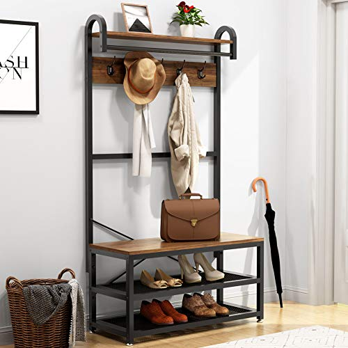 Tribesigns Vintage 4 in 1 Hall Tree with Storage Bench 3-Tier Industrial Entryway Bench with Coat Rack and Hanging Bar Coat Rack Stand with Shoe Rack Storage Shelf and 5 Hooks Rustic