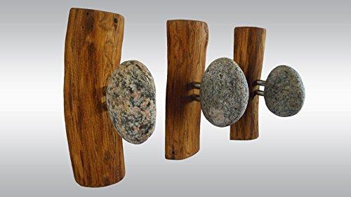 3 Stone Hangers - Wood Coat Rack with Rocks Rock towel hangers Ocean Stones - Wall mounted solid oak coat rack Clothes hanger Stone Hooks