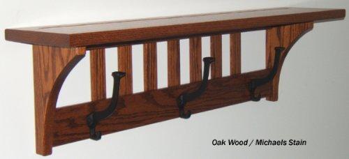 Mission 3 Hook Coat Rack - 325 Quartersawn Oak with Shelf